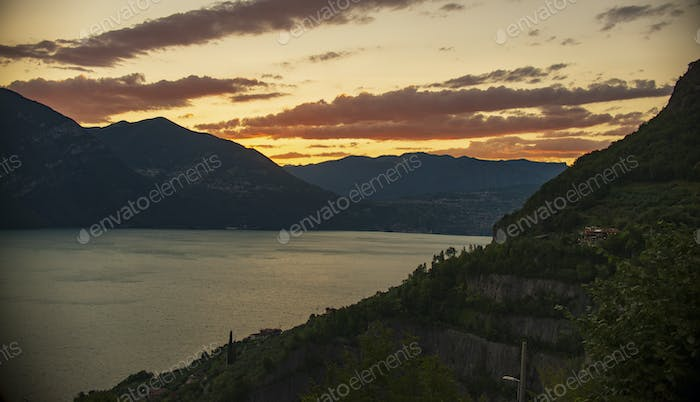 panorama view on Lago di Iseo, iseo lake in Italy