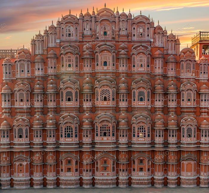 Scenic sunset view to Hawa Mahal in Jaipur, India