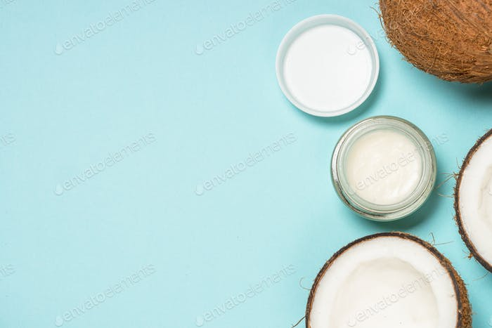 Coconut oil, natural cosmetic flat lay