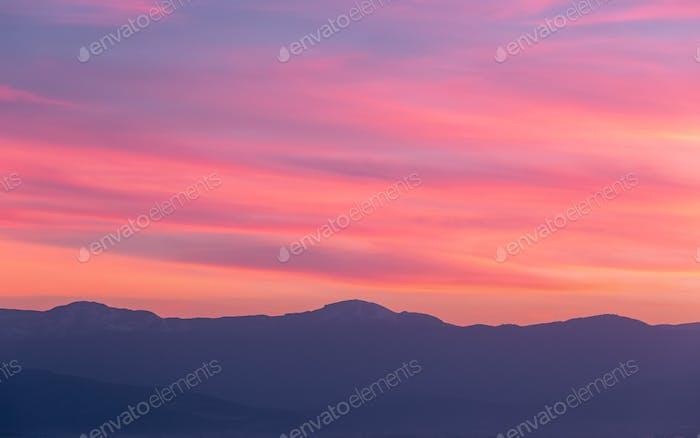 Mountain Ridge During Sunset
