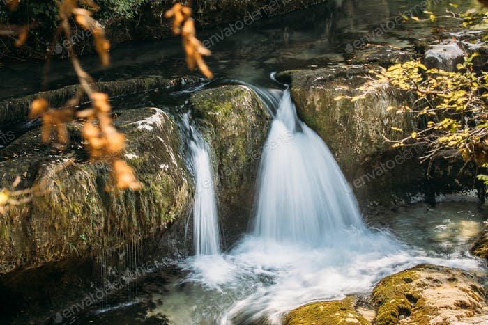 Waterfalls In Martvili Canyon, Georgia. Landscape Abasha River.
