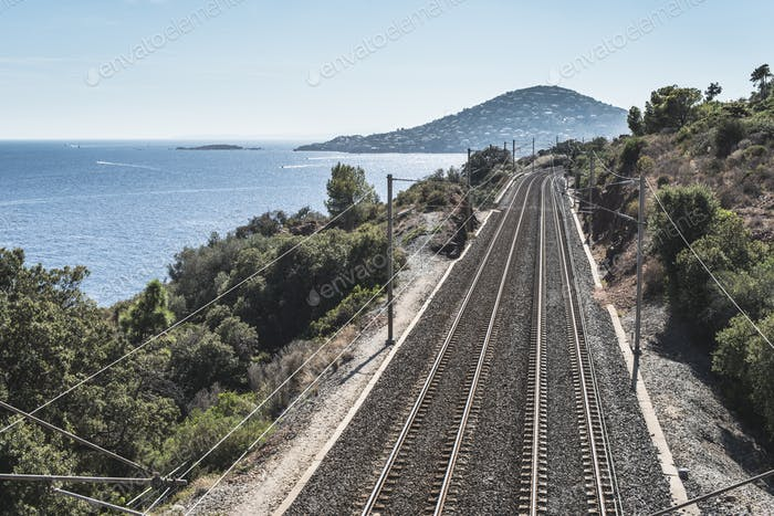 Railway line along the beach