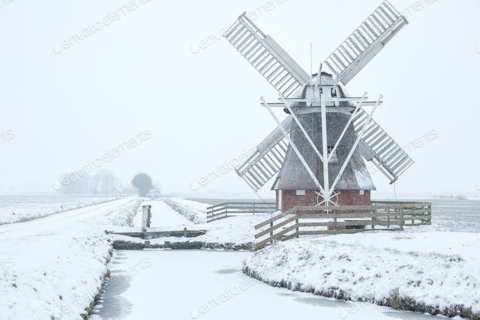 Dutch windmill in white winter snow