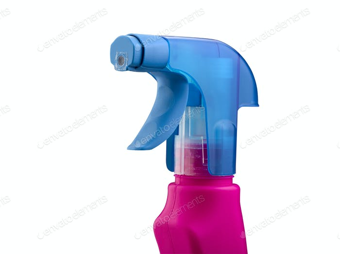 Pink and blue spray bottle against a white background