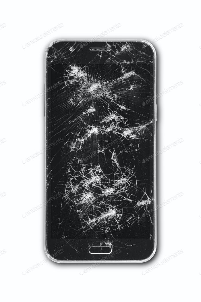 Smartphone with damaged screen isolated on white. Repair equipment. Crash