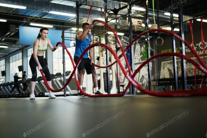 Couple Training with Battle Ropes