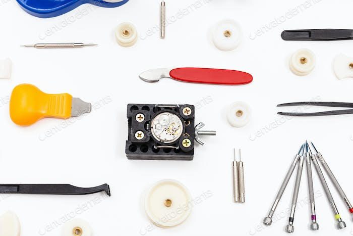 equipment for repairing watch on white