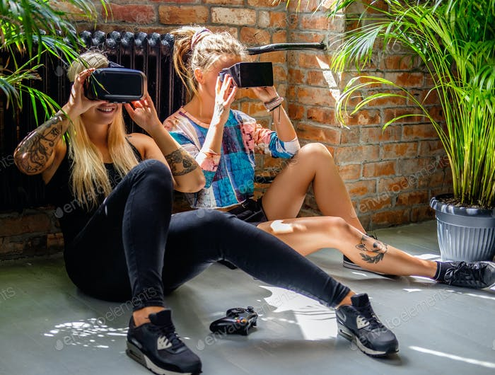 Female exciting with virtual reality device.