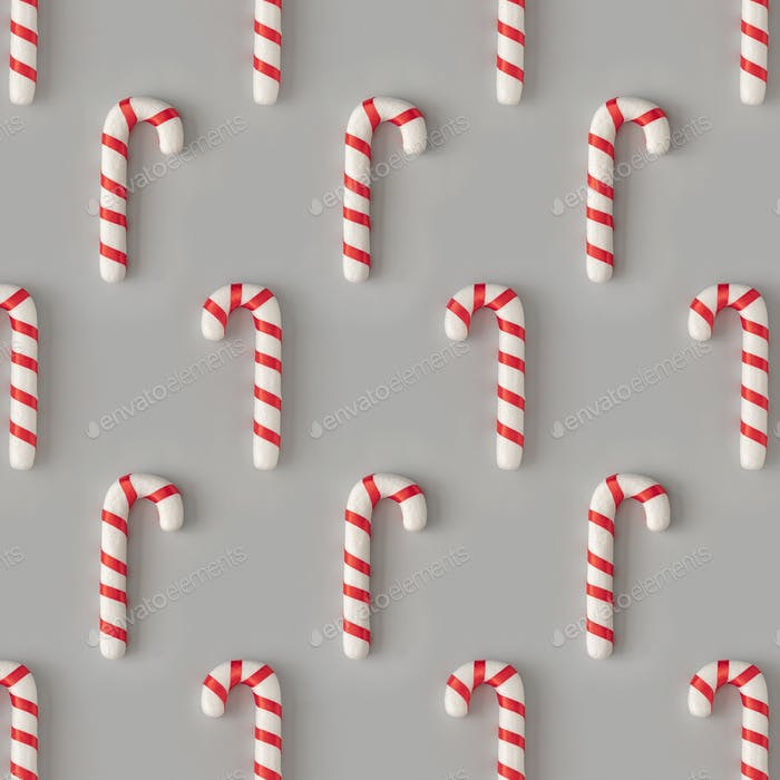 Christmas pattern with candies on pastel gray background. Minimal holiday wrap concept.