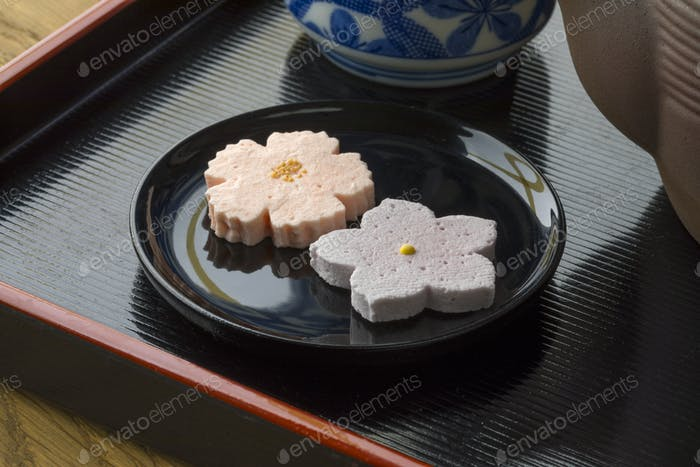Traditional Japanese sweets served with tea