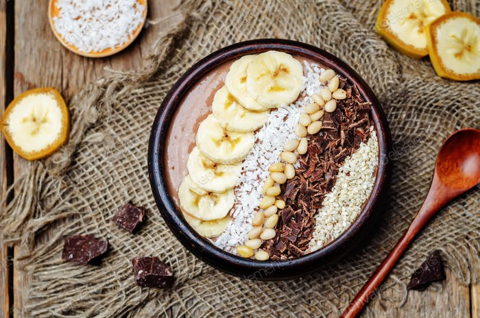 chocolate smoothie with banana, coconut, pine nuts, chocolate an