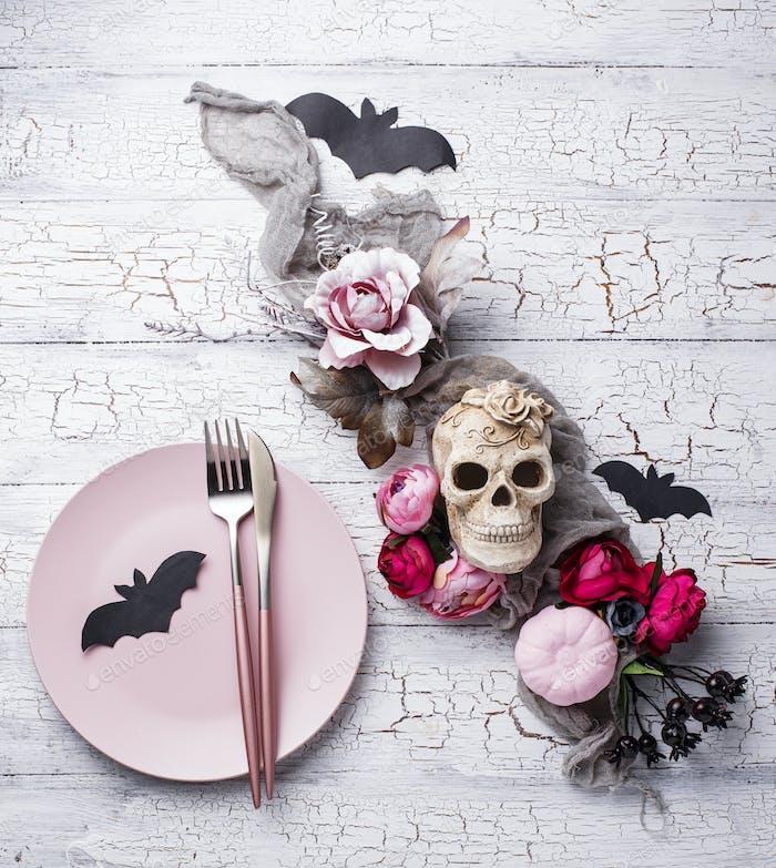 Halloween creative decor with skull