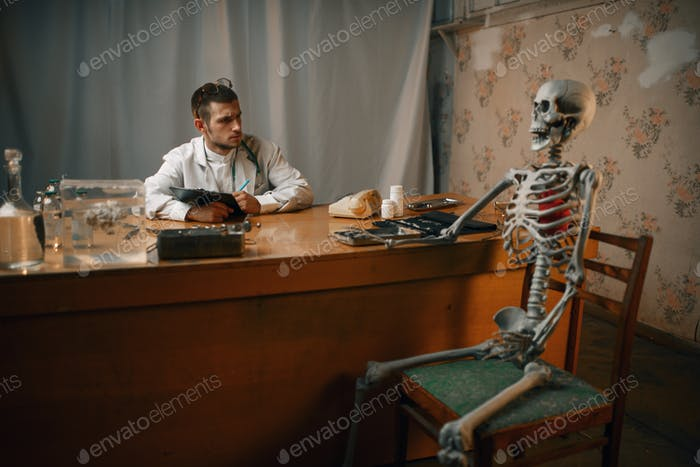 Psychiatrist and patient skeleton, mental hospital
