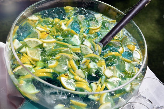 Sliced fresh lemon and ice in a bowl of beverage