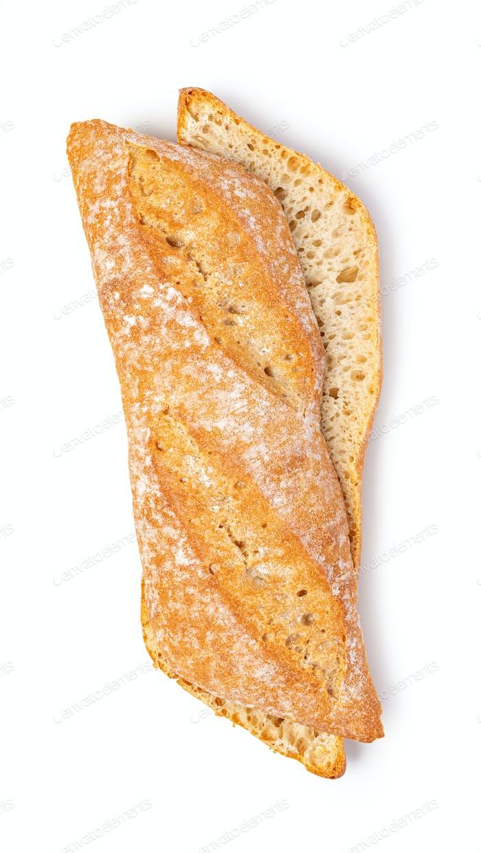 fresh baked bread on white background