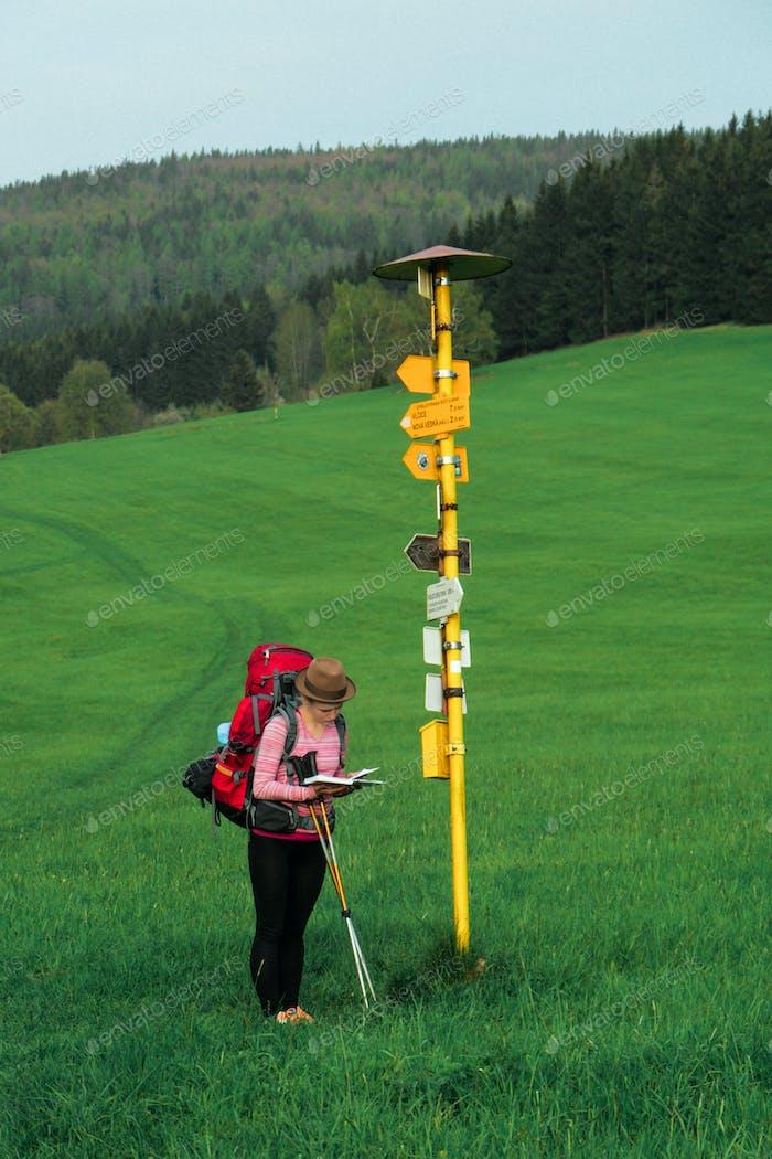 signpost hiker