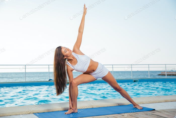 Fitness woman working out outdoors