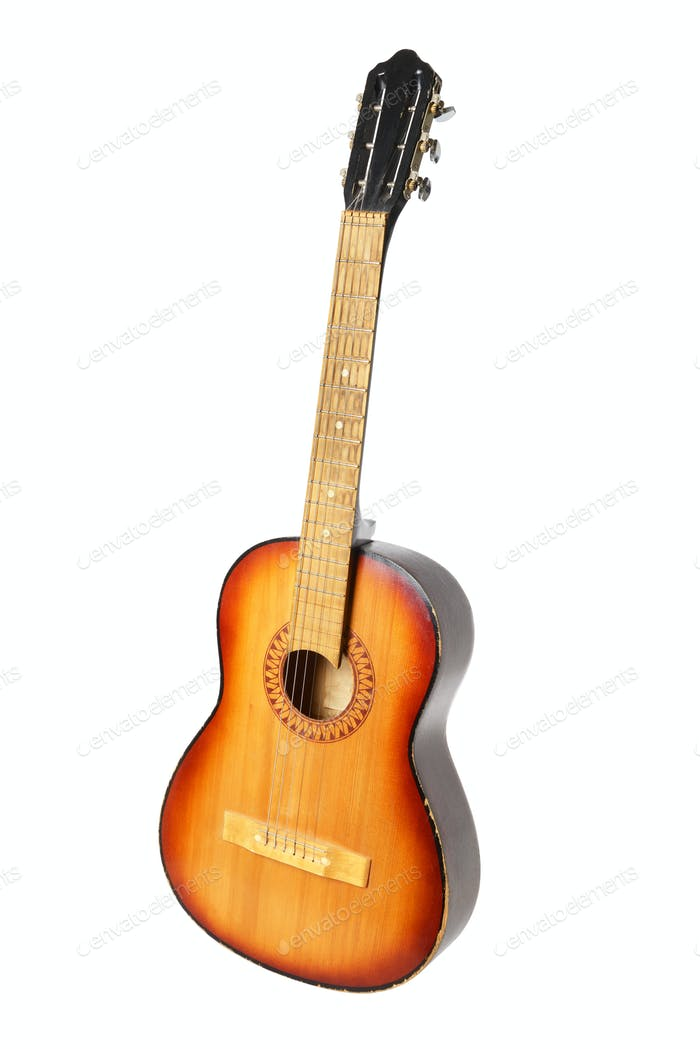 Classic acoustic guitar on white