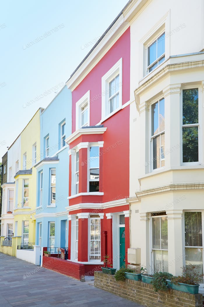 Typical colorful houses facades in London