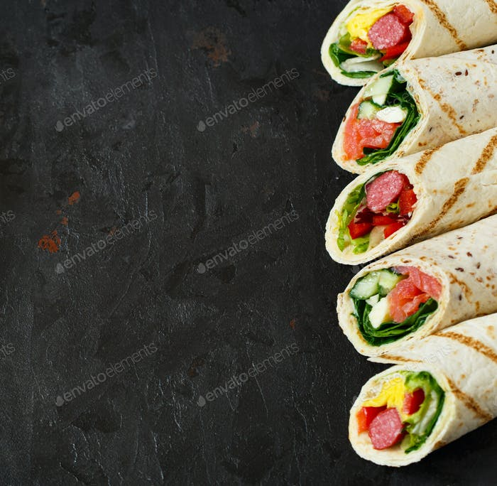 Healthy wrap sandwiches