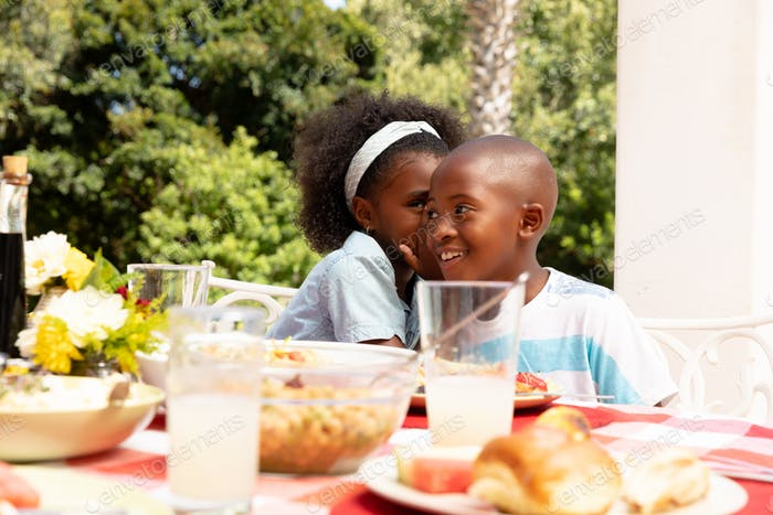 African American girl whispering on her brother ear during a family lunch in the garden