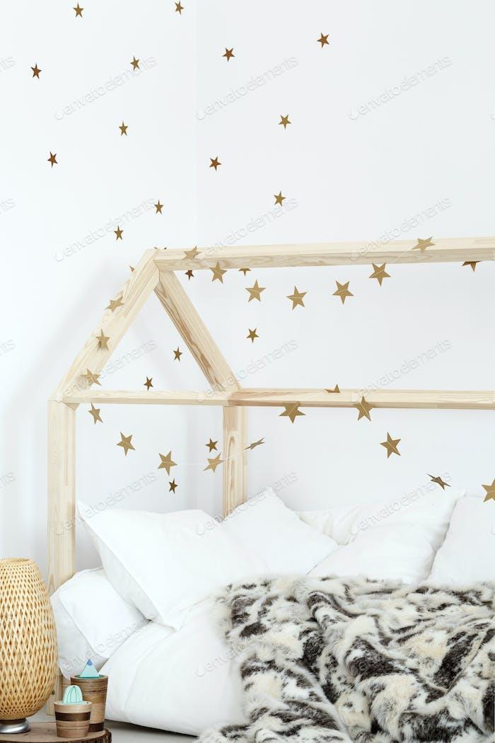 Scandinavian bedroom with budget-friendly accessories