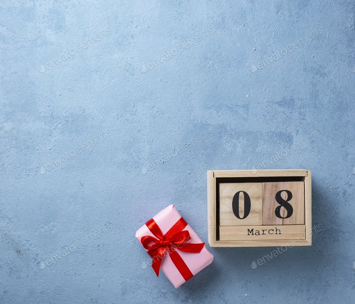 Womens day concept with wooden calendar