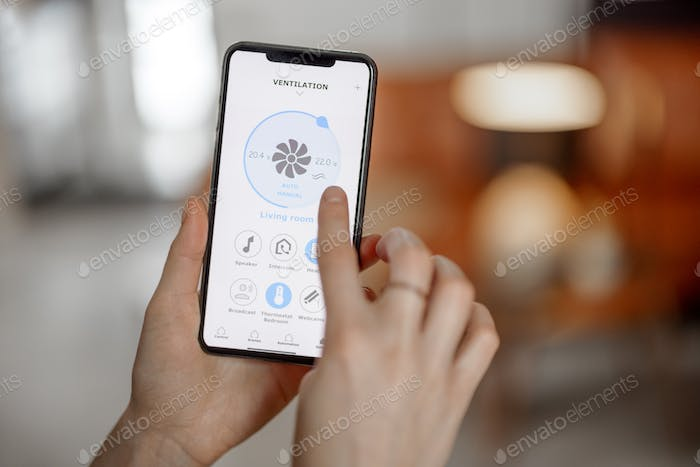 Smartphone with launched application for ventilation adjustment
