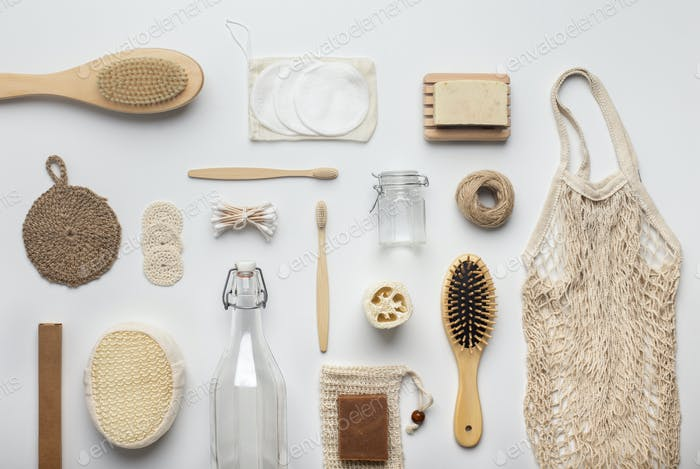 Assortment of bamboo bath accessories and other eco products