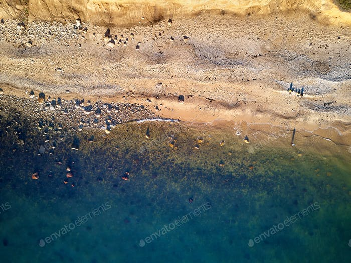 Fisherman at Hamptons Beach aerial shot