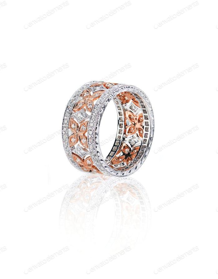 diamond rose and white gold wedding engagement band ring