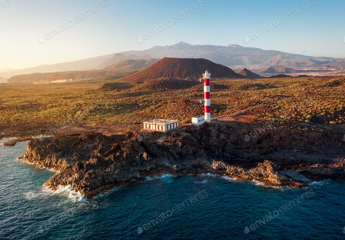 View from the height of the lighthouse Faro de Rasca at sunset on Tenerife, Canary Islands, Spain