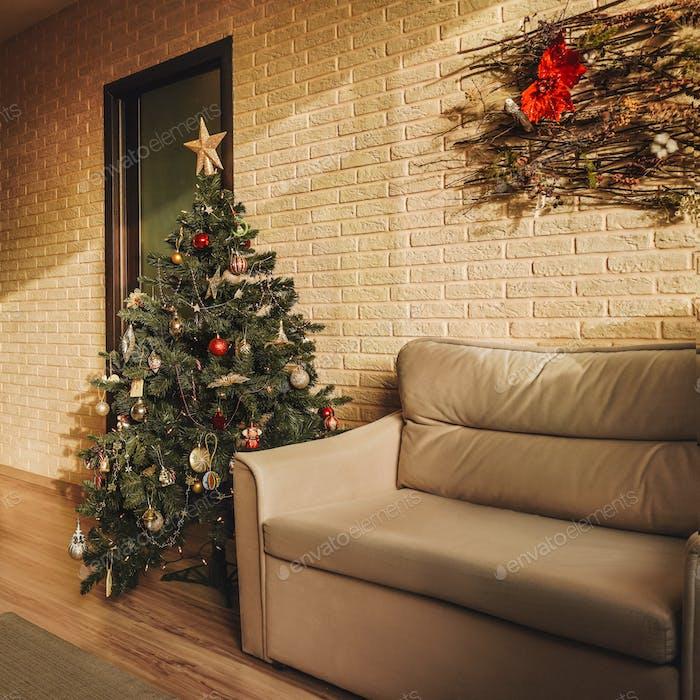 Christmas tree and sofa home, decoration.