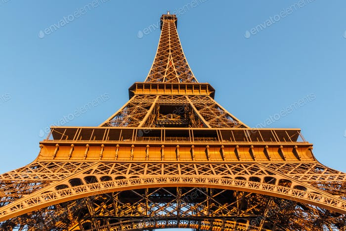 The Eiffel Tower, located on the Champ de Mars in Paris, France