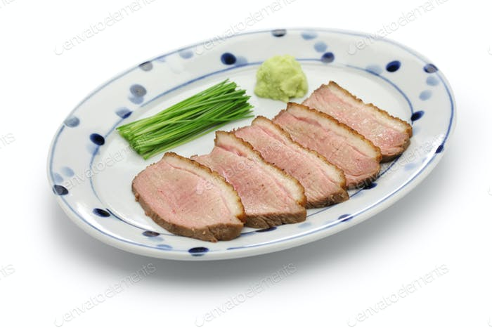 kamo rosu, seared duck breast steamed, japanese cuisine
