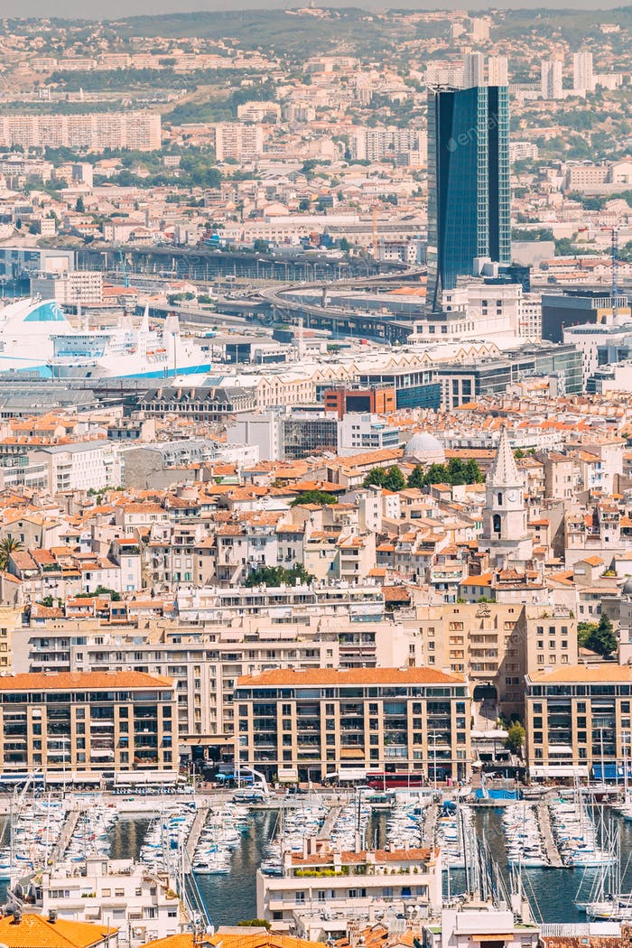 Cityscape of Marseille, France. Urban background