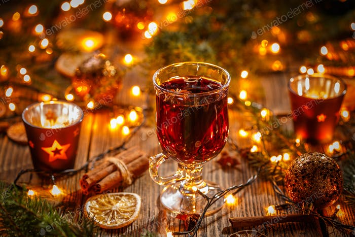 Christmas composition with mulled wine