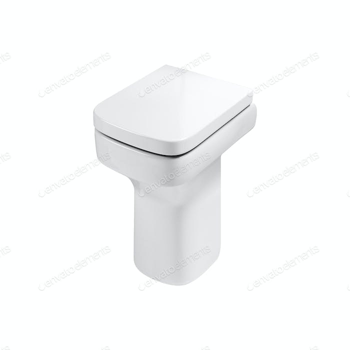 White ceramic toilet on white