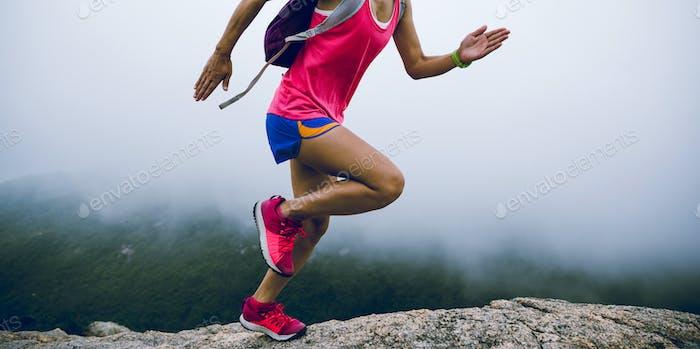 Ultramarathonläufer zum Berggipfel