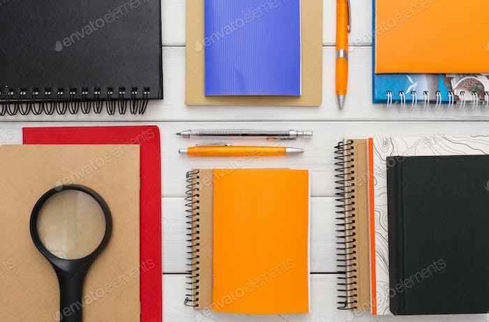 Flat lay of colorful office and school stationery