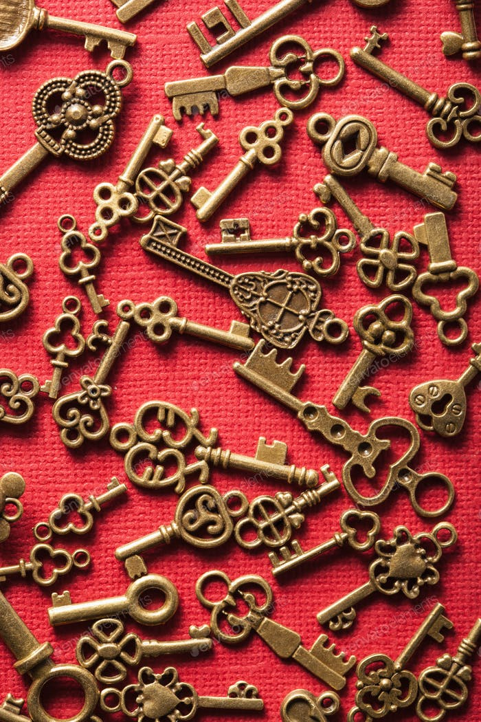 steampunk old vintage metal keys background