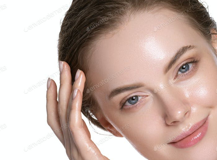 Hydration skin woman beauty healthy clean skin face beautiful model neck shoulders. Isolated white.