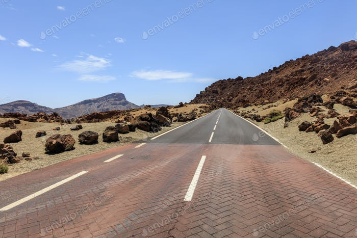 mountain road in Teide National Park. Tenerife island