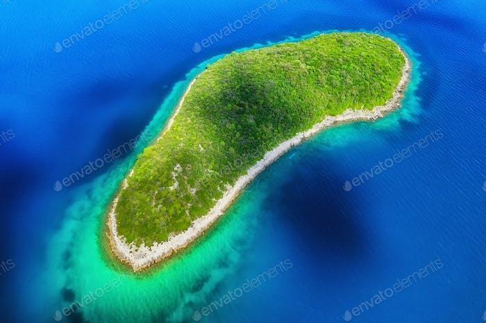 Island in the sea in Croatia. Aerial view on island with forest. Adriatic sea, Croatia.