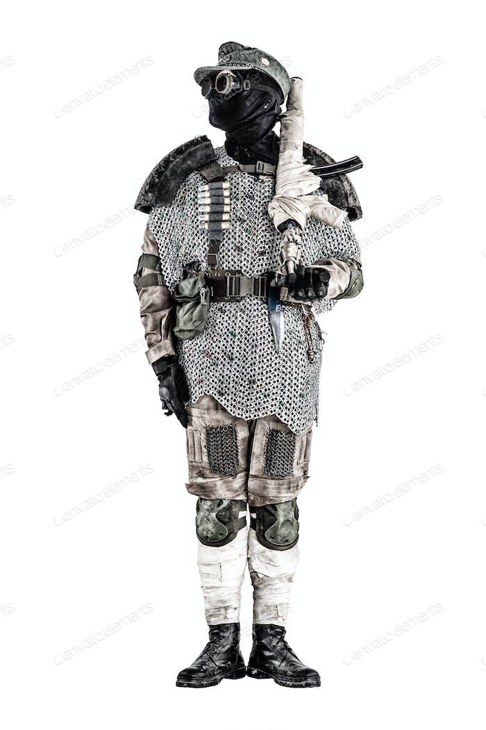 Post apocalyptic warrior with handmade firearm