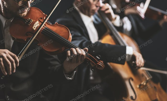Symphonic string orchestra performing on stage