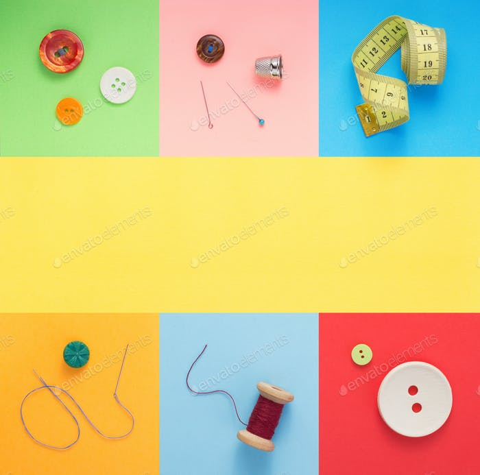 sewing tools and accessories at paper background texture