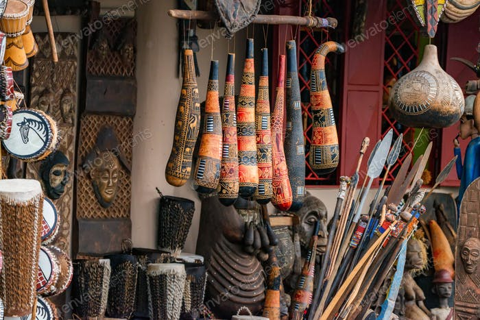 Variety of African souvenirs exposed for sale in local market
