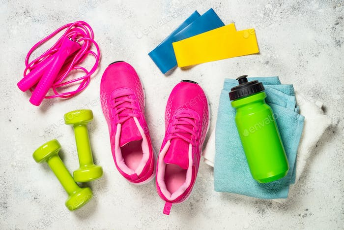 Fitness equipment flat lay image on white background