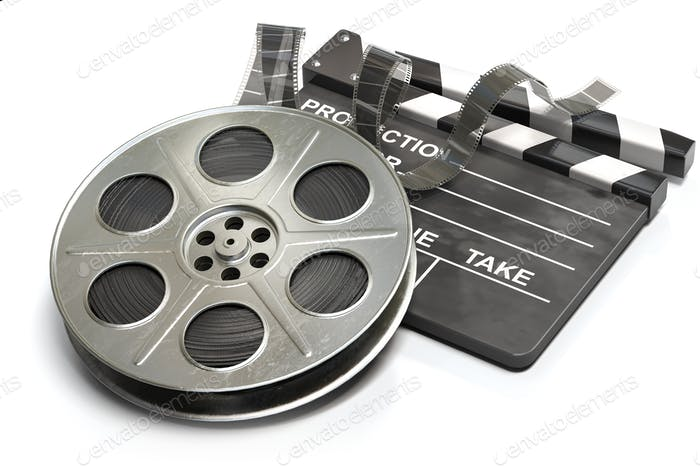 Film reel with clapper board. Video, movie and cinema production concept.